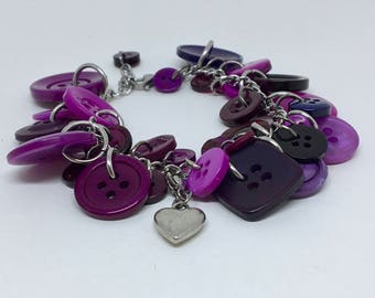 Bracelet heart charm purple recycled buttons
