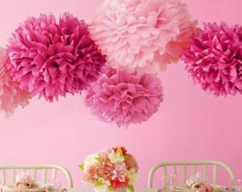 3 pompoms  14'' , decoration, party, paper tissue, flower balls, wedding, event