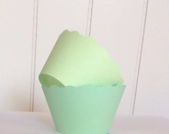 12 Mint Green Cupcake Wrappers -  Baby Showers, Bridal Showers, Wedding Celebrations