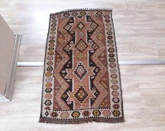 "Turkish Small Kilim,2'×3'44""feet,61x105cm,Turkish Anatolian Handmade Vintage Kilim Rug"