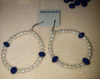Pearl and Lapis Lazuli hoop earrings