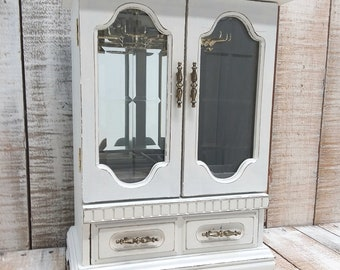 Large Shabby Chic Vintage Wooden Jewelry Armoire Painted Antique White  Distressed Upcycled Refurbished Rustic Jewelry Box