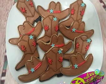 Cowboy boots and hats cookies (12qty)