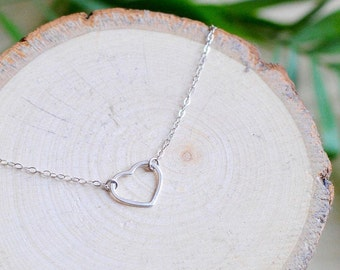 925 Sterling Silver Heart Necklace, Valentines Day Gift, Love, Choker, Delicate Chain, Stacking Necklace, Minimalistic, Gift for Women