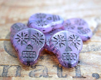 Glass Sugar Skull Beads Purple Opal Beads 20x16mm Glass Bead Czech Glass Beads (4)