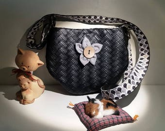 "Handbag ""Emma"" in black imitation leather braided"