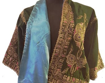 1930s Forest Green Cotton Velvet Bolero Jacket with Gold Bullion Soutache, Silk Embroidery, and Teal Lining