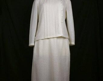 Vintage Skirt Suit Off White Boucle Knit Jacket Womens 20 XL 80s Walden Classics