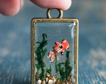 Goldfish pendant necklace, chubby fish pendant, goldfish jewelry, aquarium, marine, resin, mother's day, gift for sister, gift for her