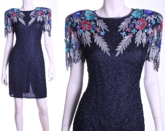 80s open back silk bead & sequin trophy dress - small or medium