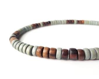 Men's grey wooden necklace - Stormwood