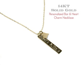14KT Gold Vertical Bar and Heart Necklace, Engraved Bar Necklace, Personalized Nameplate, Roman Numeral Necklace in Solid 14KT Yellow Gold