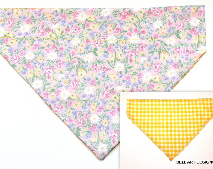 Floral ~ Yellow Gingham ~ Over the Collar ~ Reversible ~ Dog Pet Bandana ~ Bell Art Designs ~ Large ~ 568