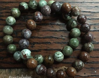 Green and Brown Peruvian Opal | Spiritual Junkies | Stackable Mala Inspired | Yoga + Meditation Bracelet