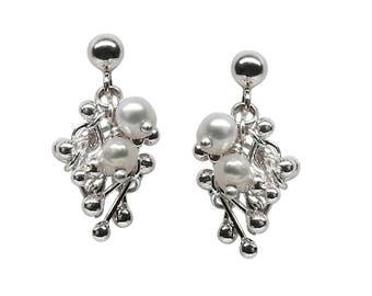 Sterling Silver Pearl Cluster Earrings - Pearl Drop Earrings