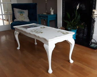 Hand Painted Shabby Chic Rectangular Coffee Table with Decorative Top