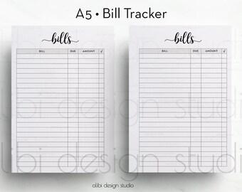 Bill Tracker, Planner Printable, Bill Inserts, Financial Planner, A5 Planner Inserts, Bill Calendar, Monthly Bill Tracker, Bill Organizer