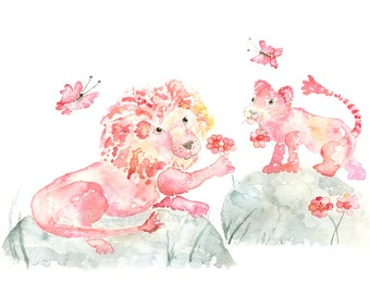 Pink Nursery Art, Baby Girl Nursery, Baby Girl Gift, Lion print, Pink Jungle art, Girl's Nursery Decor, Jungle Nursery