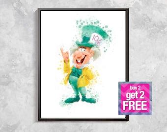 Mad Hatter print, Alice In Wonderland Print, Mad Hatter Poster, Mad Hatter watercolor, Alice In Wonderland party, Mad Hatter, nursery decor