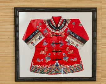 Chinese Framed Handmade Silk Child's Kimono