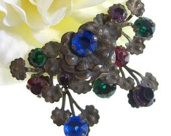 Art Nouveau Brooch Czech Glass  Antique Rhinestone Jewelry Czechoslovakia Arts and Crafts Era Pin