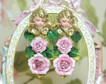 RESERVED NADINE Hand Painted Vivid Sleeping Putti Cherub Angel Leaf Rose Pearl  Studs Earrings