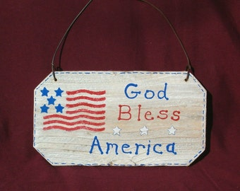 Handmade Wooden Sign - God Bless America