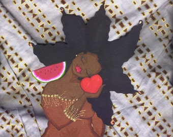 Prints:5x7 Cherish  Affirmation  by karin turner KarinsArt  watermelon  african american valentine Love ankara