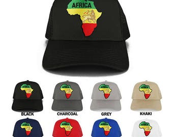 RGY Africa Map and Rasta Lion Embroidered Iron on Patch Adjustable Trucker Mesh Cap (30-287-AFRICA-6)
