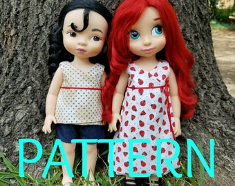 Wrap Dress and Shirt Set SEWING PATTERN for Disney Animator Dolls, Sewing Pattern, Doll Clothes, 16 in Doll Clothes, Dress Pattern, Summer