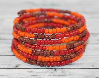 Fire - brown, orange and red glass beads memory wire bracelet