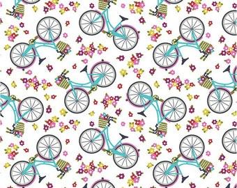 Bikes - Half Yard Cut - Around Town - Studioe Fabrics - Cotton Fabric - Quilting Fabric - White Fabric