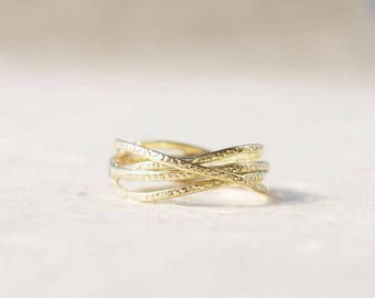 Wrapped ring, Unique Anniversary Ring, Unique Anniversary Gift For Her, Unique Gold Ring, Promise Ring, Gold Ring 14K, Gold Mothers Ring