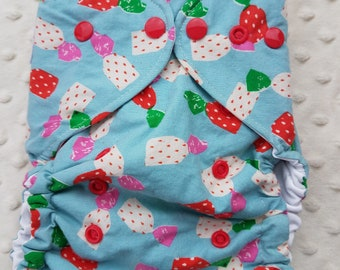 One Size, cloth diaper cover, cotton over PUL with AI2 option, Strawberry candies on blue, cotton and steel