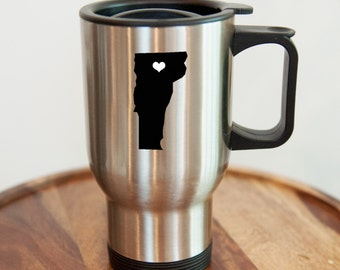 Vermont Stainless Steel Travel Mug.  Hometown, Custom