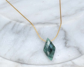 Raw Emerald Necklace gold, dainty emerald necklace,  Natural Real Emerald Pendant, Minimal stone Necklace, May Birthstone, rough stone