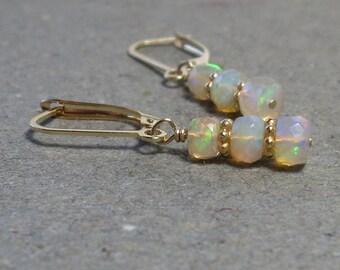 Opal Earrings October Birthstone 14kt Gold Earrings 14 kt Leverback Earrings Gift for Her
