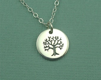 Small Tree Necklace - Sterling Silver Tree of Life Necklace, Tree Charm, Tree Jewelry, Tree Hugger, Tree Pendant, Family Tree Jewelry, Gift