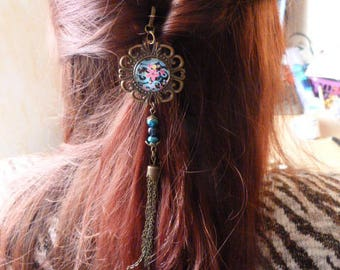 """Blue flowers and multicolors"" bronze hair stick"