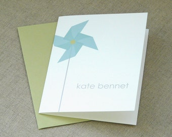 Personalized Stationery - personalized stationary set - thank you notes - note card - birthday - girl - one pinwheel