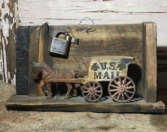 Vintage Cast Iron Horse Drawn U.S. Mail Wagon 118-S9