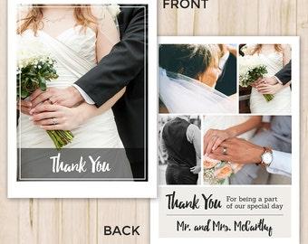 Wedding Thank You Card - Thank You Template - Photography Template - Photoshop PSD Template (Instant Download)