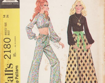 McCalls 2180 / Vintage 60s Sewing Pattern / Pants Skirt Midriff Top Blouse Shirt / Size 14 Bust 36