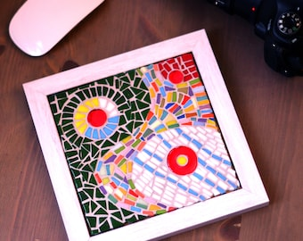 Mosaic wall art/Red white wall decor/Glass/Abstraction/Colorful modern art/Diming room art/Expressionist/Mixed media mosaic/Mosaic art