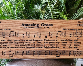 Amazing Grace Sheet Music Sign, Hymn Wall Art, Amazing Grace Carved Wood Sign, Christian Gifts, Hymnal Sign