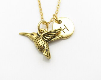 Hummingbird Necklace, Gold Hummingbird Charm Necklace with Personalized Stamped Initial Letter, Birds and Nature Necklace, Monogram Z123