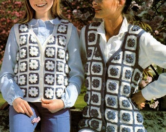 UK Crochet Pattern PDF Girls and Womens Double Knit Vest Ladies Granny Squares Waistcoat