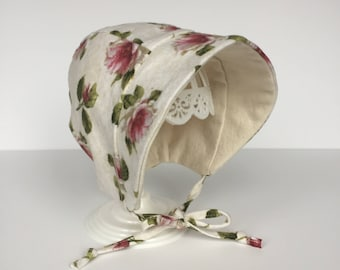 Bonnet – Baby Toddler – Cream Beige Floral – Flannel