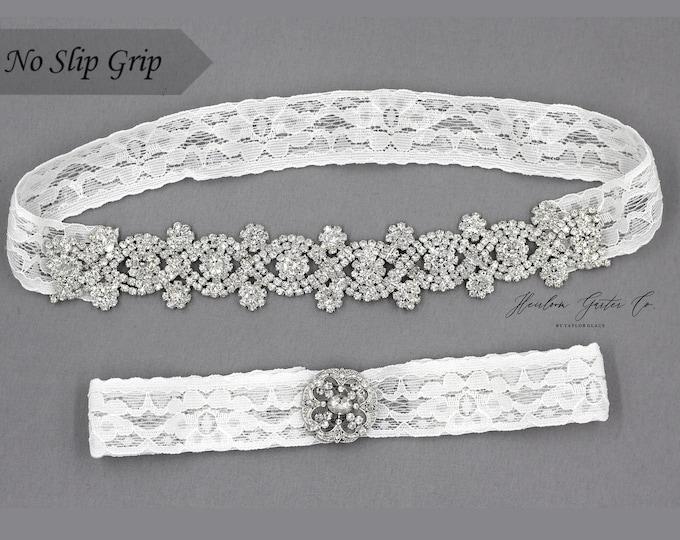 Wedding Garter, White Wedding Garter Set, NO SLIP grip Lace Wedding Garter Set, bridal garter set CB46-C19S