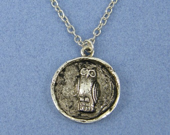 Owl Necklace Antique Silver Owl Pendant Medallion Bird Necklace Owl Charm Necklace with 18 inch Silver Plated Chain |NU1-11